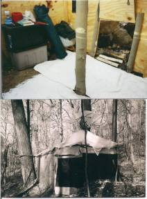 Benjamin Miller's shelter in the Woods of West Virginia