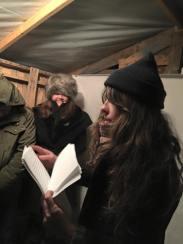 Sara Majka reading about dune shacks